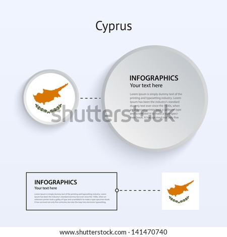 Cyprus Country Set of Banners on gray background for Infographic and Presentation. Vector illustration.