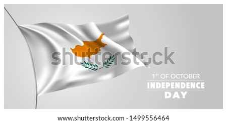 Cyprus independence day greeting card, banner, horizontal vector illustration. Holiday 1st of October design element with waving flag as a symbol of independence
