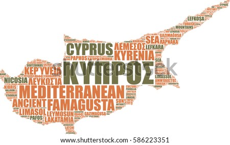 Cyprus island map silhouette vector tag cloud