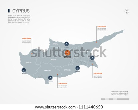 Cyprus map with borders, cities, capital Nicosia and administrative divisions. Infographic vector map. Editable layers clearly labeled.