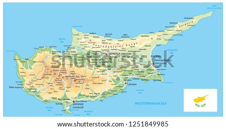 Cyprus Physical Map. Detail relief vector map of Cyprus.