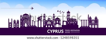 Cyprus Travel Destination Vector.