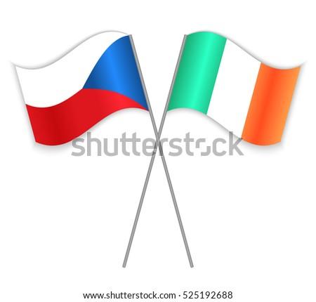 czech and irish crossed flags
