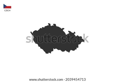Czech black shadow map isolated on white background with Czech icon flag on the left corner. Foto stock ©