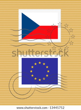 Czech Republic and European Union - stamps with flag