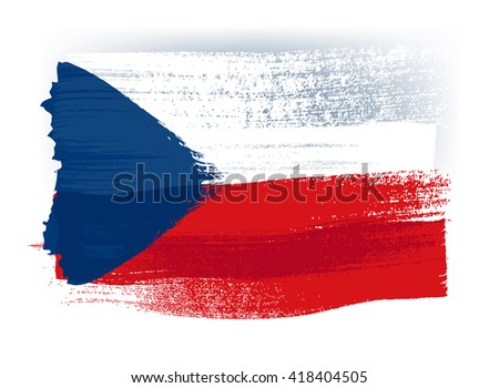 Czech Republic colorful brush strokes painted national country flag icon. Painted texture. Stock photo ©