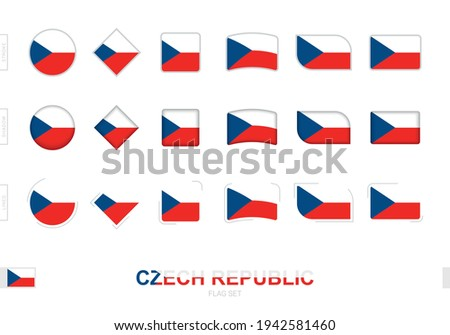 Czech Republic flag set, simple flags of Czech Republic with three different effects. Vector illustration. Foto stock ©