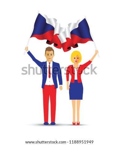 Czech Republic flag waving man and woman