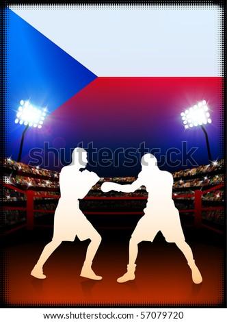 Czech Republic Flag with Boxer on Stadium Background Original Illustration