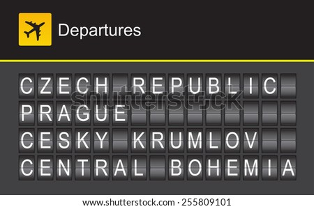 Czech Republic flip alphabet airport departures, Prague, Cesky Krumlov, Central Bohemia