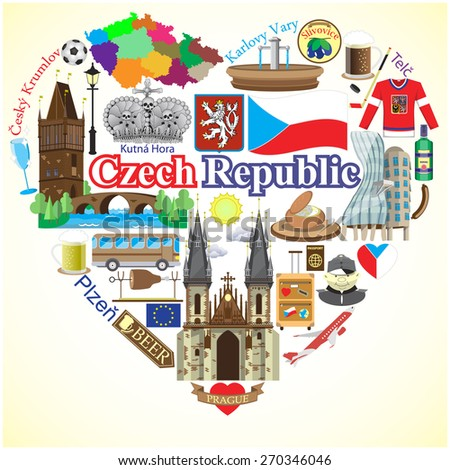czech republic love vector