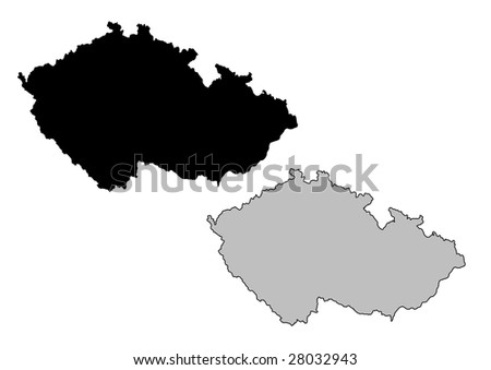Czech Republic map. Black and white. Mercator projection.