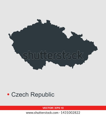 Czech republic map flat icon, vector illustration on gray background
