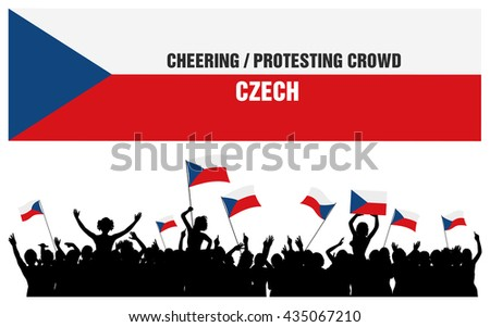 czech 5 silhouettes of cheering