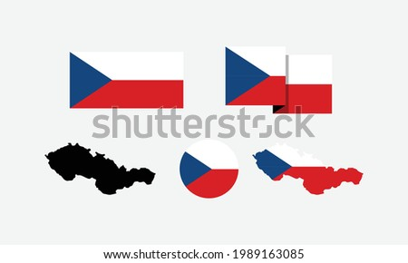 Czechoslovakia attributes. flag in rectangle, round, and maps. set of element vector illustrations for national celebration day. ストックフォト ©