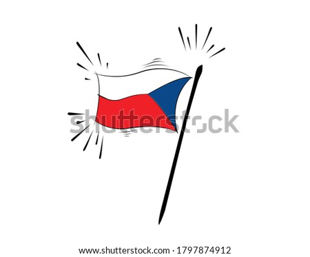 Czechoslovakia flag on white background in vector illustration Foto d'archivio ©