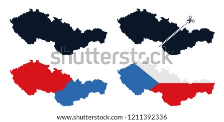 Czechoslovakia - former state is separated into Czech Republic / Czechia and Slovakia after breaup. Dissolution and secession of European country in Central Europe. Vector illustration Foto d'archivio ©