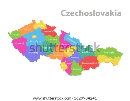 Czechoslovakia map, administrative division with names, colors map isolated on white background vector Foto d'archivio ©