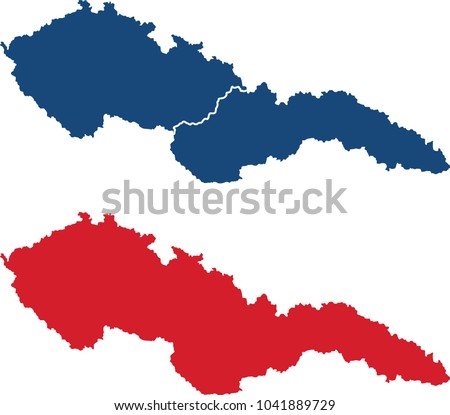 Czechoslovakia map (before 1938, blank and border separated) Сток-фото ©