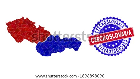 Czechoslovakia map polygonal mesh with filled triangles, and rubber bicolor rubber seal. Triangle mosaic Czechoslovakia map with mesh vector model, triangles have different sizes, and positions, Foto d'archivio ©