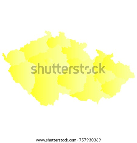 czechRepublic map - yellow geometric rumpled triangular style gradient graphic background . Vector illustration eps 10. - Shutterstock ID 757930369