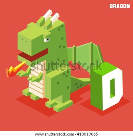 d for dragon animal alphabet