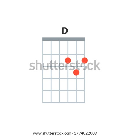 D guitar chord icon. Basic guitar chords vector isolated on white. Guitar lesson illustration. Photo stock ©