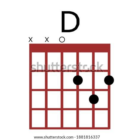 D Guitar Chords.Tab. Tabulation. Tablature. Finger Chart. Basic Guitar Chords. Guitar Lesson. Guitar Cord. Photo stock ©