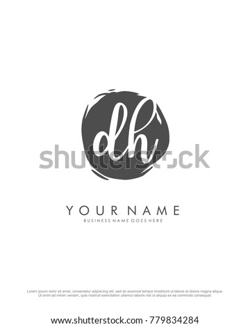 D & H initial splash logo template vector
