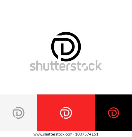D in circle vector. Minimalism logo, icon, symbol, sign from letters d. Flat logotype design with red color for company or brand. Zdjęcia stock ©