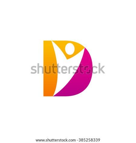 d initial alphabet letter logo