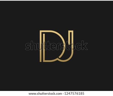 D J Unique Minimal Style golden and black color initial based logo Stock fotó ©