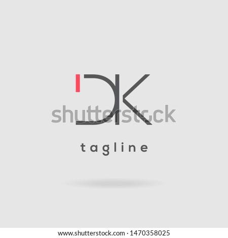 D & K double letter logo design vector template Stock fotó ©