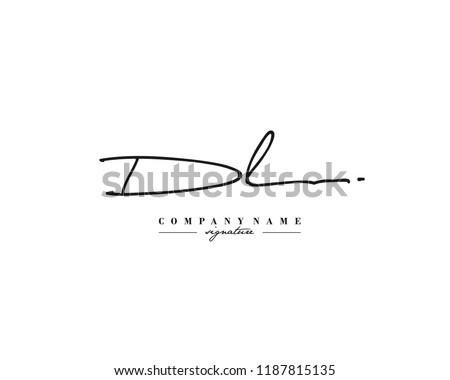 D L DL Signature initial logo template vector Stock fotó ©