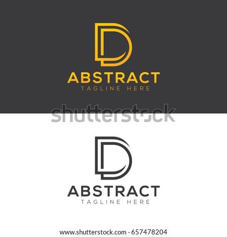 d letter line style brand logo