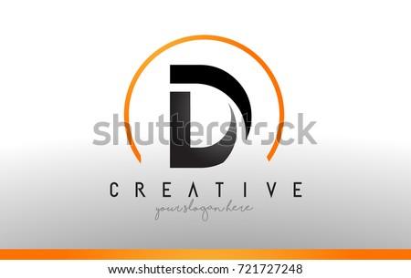 d letter logo design with black