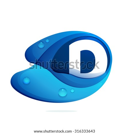 d letter with blue water drops