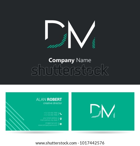 D & M joint logo stroke letter design with business card template Stok fotoğraf ©