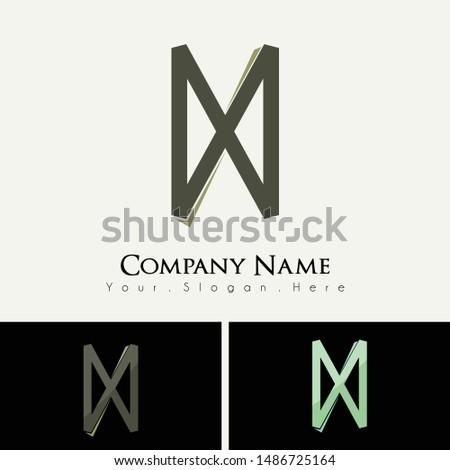 D, N, H, X Alphabet logo, Double D logo, Inverse Double D Foto stock ©