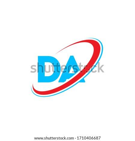 DA D A letter logo design. Initial letter GM linked circle upercase monogram logo red and blue. GM logo, G M design Stok fotoğraf ©