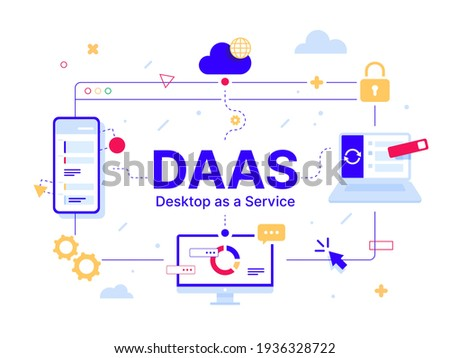 DaaS - Desktop as a Service. Code line of programming internet application. Cloud software on computers with program code on the screen, infographic elements icon, app, virtual screens on white