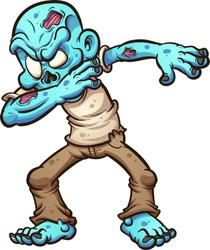 Dabbing cartoon zombie. Vector clip art illustration with simple gradients. All in a single layer.