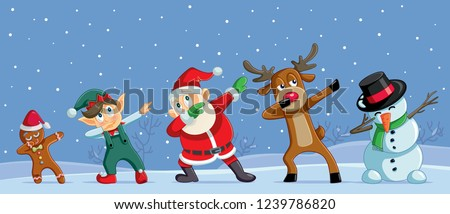 Dabbing Christmas Cartoon Characters Funny Banner. Cool Santa dancing with his friends outdoors