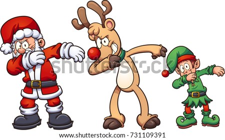 Dabbing Christmas characters. Vector clip art illustration with simple gradients. Each on a separate layer.