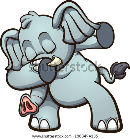 Dabbing fat and gray cute elephant. Vector clip art illustration with simple gradients. All on a single layer.