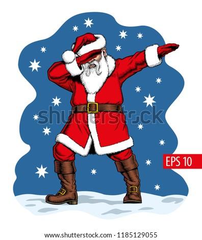 Dabbing Santa Claus, vector illustration.