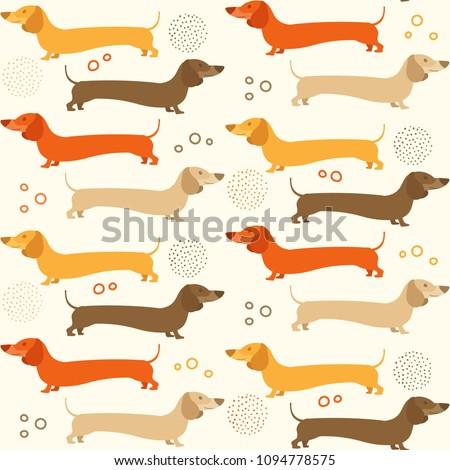 Dachshound seamless pattern - doxie background design Stock photo ©