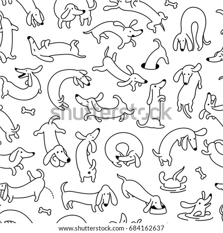 Dachshund Dog Pet Seamless Vector Pattern And Background