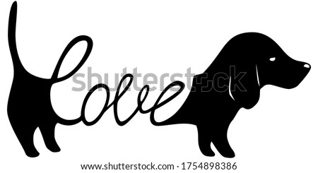 Dachshund illustration with word love inside, dog lover sign isolated black on white, cute print for t-shirts and dog clothes Stock photo ©