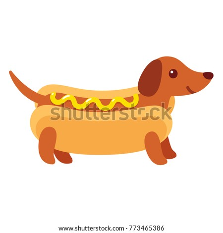 Dachshund puppy in hot dog bun with mustard, funny cartoon drawing. Cute Weiner dog vector illustration.
